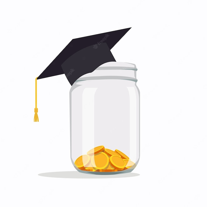 Premium Vector Investing In Education Ideas School Fees Education Expenses School Tuition Graduation Cap With Coins In A Jar Vector Illustration In Flat Style