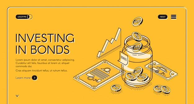 Вкладывая капитал в изометрическую целевую страницу облигаций, монеты доллара падают в банку с инвестиционными документами и графиками, инвестируют в фонд, увеличивают деньги, финансируют бизнес