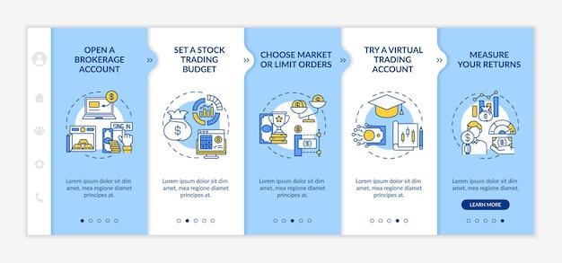 Инвестиции в фондовые шаги, связанные с векторным шаблоном. адаптивный мобильный сайт с иконками. веб-страница прохождение 5 экранов шагов. брокерский счет, заказ, концепция цвета симулятора с линейными иллюстрациями