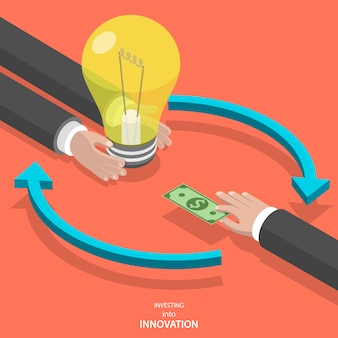 Investing into innovation flat isometric vector concept.