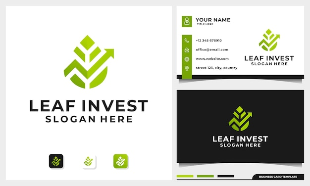 Инвестиционный дизайн логотипа с концепцией nature leaf и шаблоном визитной карточки