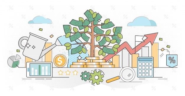 Investing money outline concept illustration