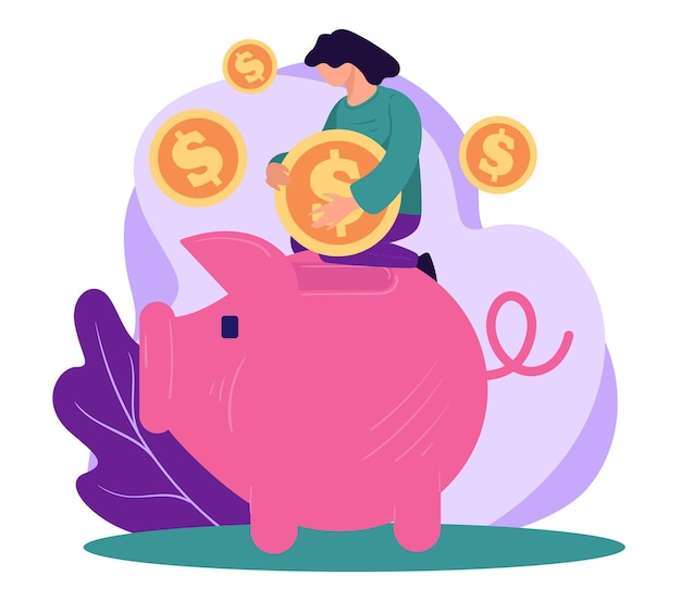 Investing or saving money, woman inserting dollar coin in piggy bank