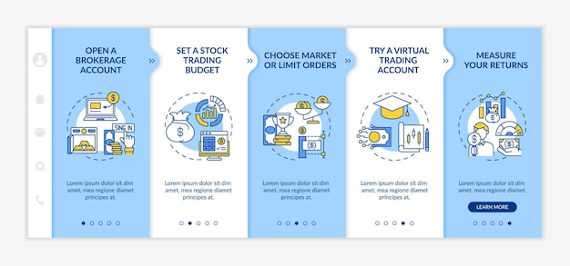 Investing in stock steps onboarding vector template. responsive mobile website with icons. web page walkthrough 5 step screens. broker account, order, simulator color concept with linear illustrations