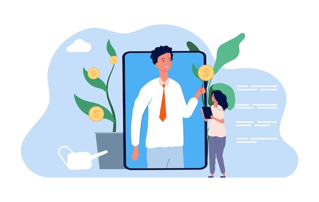 Investment advisor. saving and increasing money, girl studying financial management. online banking consultant illustration. finance banking analysis and communication advice