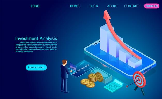 投資分析のコンセプト。売上高の分析、統計データの成長、キャラクターを含む会計インフォグラフィック。平らな等角投影図