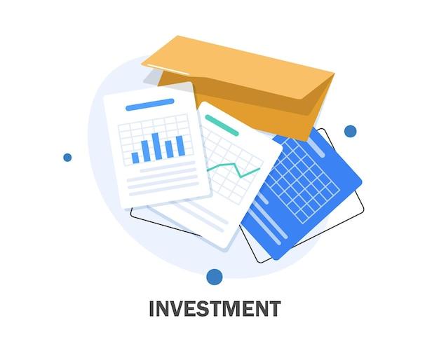 投資分析コンセプトバナー、財務計画、データ分析コンセプト、マーケティングのためのビジネスコンセプト、分析とブレインストーム、フラットデザインイラスト