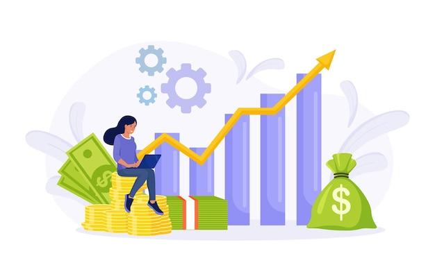 投資と分析の金銭的利益。コインのスタックに座っている投資家。従業員が投資計画を立て、ラップトップで福利厚生を計算します。収益性の高い投資、資金調達金融コンサルティング、貯蓄
