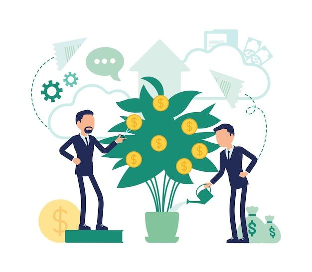 投資および事業配当。効率的な男性マネージャーがより大きな利益のために金のなる木に水をまき、会社の株主は金貨を育てています。顔のない文字とベクトルの抽象的なイラスト