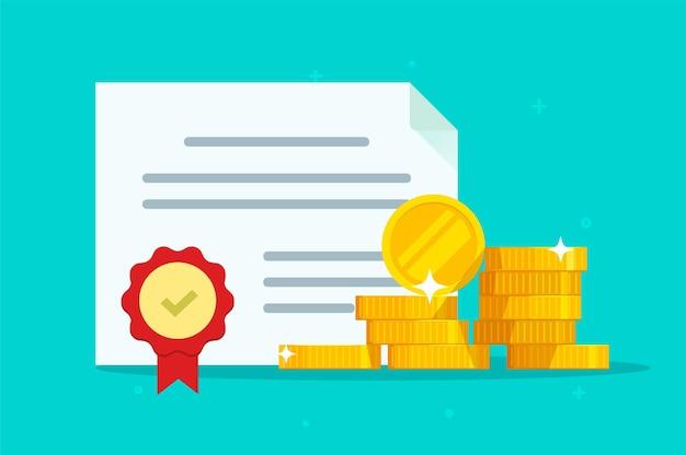 인감 도장 일러스트와 함께 투자 채권 또는 주식 의무 문서