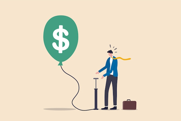 Investment bubble causing financial crisis, overvalued stock market or money inflation concept, businessman investor pumping air into big floating balloon with us dollar money sign ready to burst.