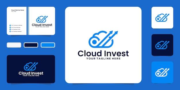 Вдохновение для дизайна логотипа инвестиционного облака со стрелками и визитными карточками