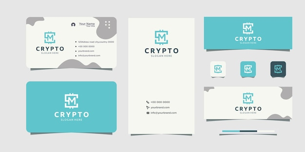 Investment company logo design with m logo text business card design