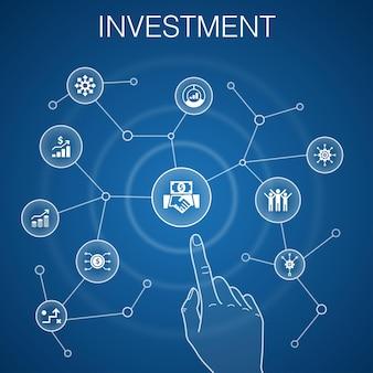 投資コンセプト、青い背景。利益、資産、市場、成功のアイコン