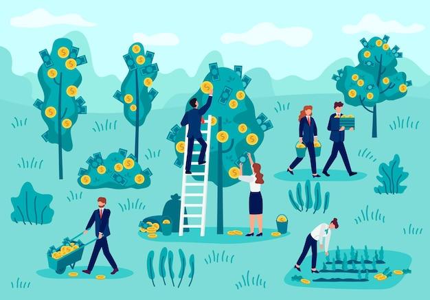 投資コンセプト。現金、金銭的利益、お金の収入、リターン資本戦略、投資収入ベクトルの概念を選ぶビジネスマン。木や茂みから紙幣を集める労働者