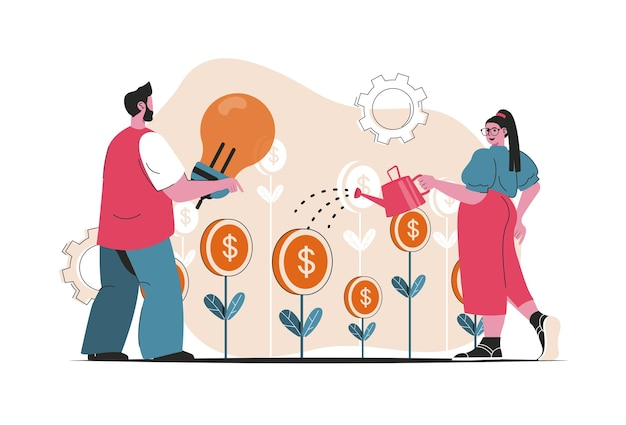 투자 개념 절연입니다. 금융 상품, 수입과 이익을 증가시킵니다. 평면 만화 디자인의 사람들 장면. 블로깅, 웹 사이트, 모바일 앱, 판촉 자료에 대한 벡터 일러스트 레이 션.
