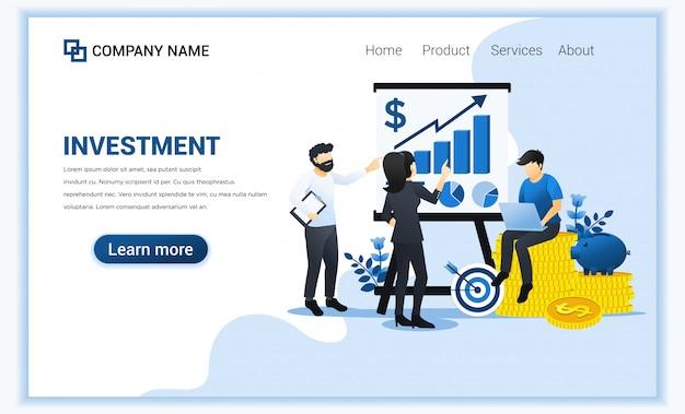 グラフィックグラフ、成長成功ビジネスを示すプレゼンテーションの人々と投資の概念。
