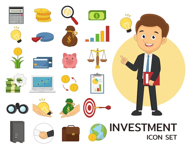 Investment consept flat icons