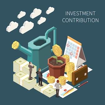 Инвестиционный вклад и рост изометрической концепции с деньгами и деловыми людьми 3d иллюстрация