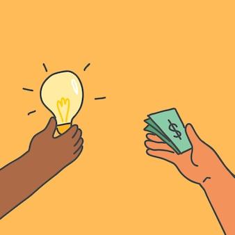 Soldi di vettore di doodle di investimento per idea
