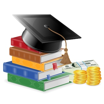 Investment in education or knowledge is money concept - stack of colored books with bookmarks and square academic cap mortarboard and money. realistic isolated vector illustration