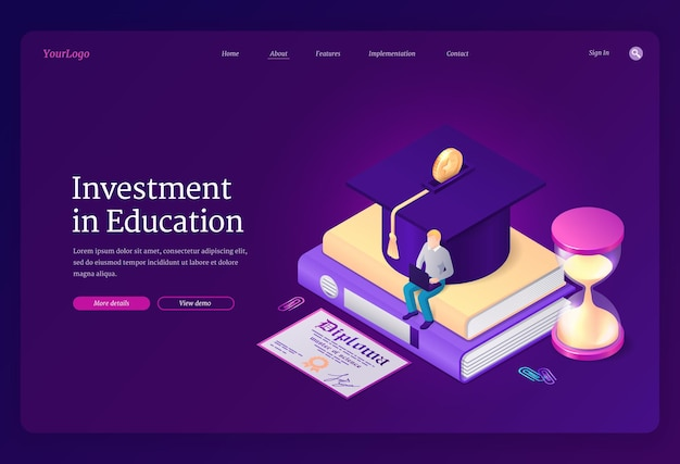 Investment in education landing page