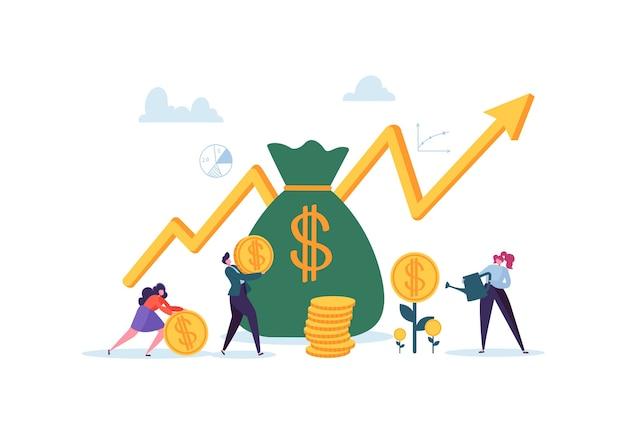 투자 금융 개념. 자본과 이익을 증가시키는 사업가. 캐릭터로 부와 저축. 수입 돈.