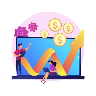 Illustrazione di concetto astratto del fondo di investimento. investimento fiduciario, piano azionario, creazione di fondi, opportunità di business, capitale di rischio aziendale, leva finanziaria di hedge fund.