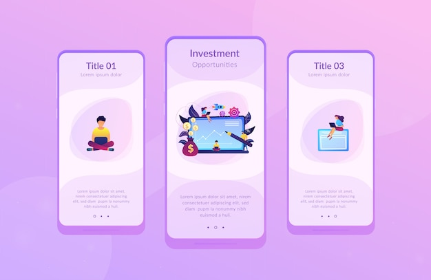Investment fund app interface template.