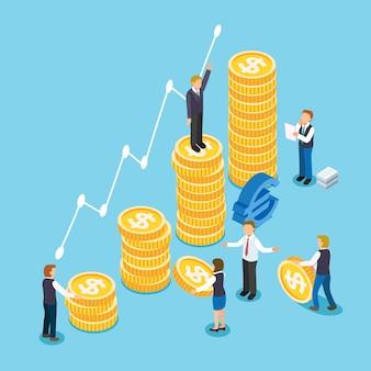 Концепция роста инвестиций в 3d изометрической плоской конструкции