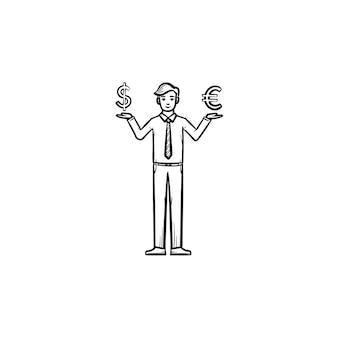 Инвестиции рисованной наброски каракули вектор значок. иллюстрация эскиза инвестиционного риска для печати, интернета, мобильных устройств и инфографики, изолированные на белом фоне.