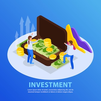Investment illustration with people and money case