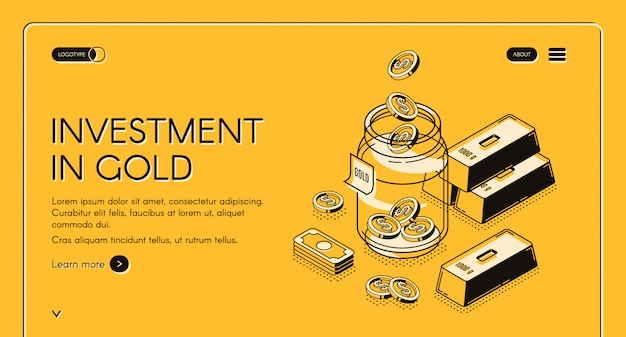 Инвестиции в золотой веб-шаблон