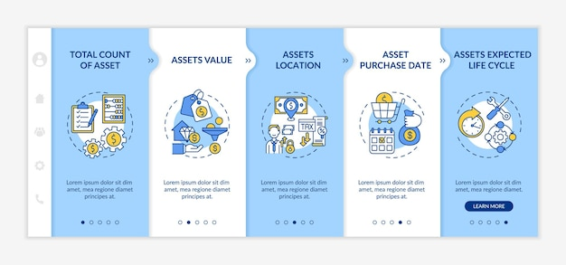 Investment inventory elements onboarding  template. assets value and purchase date. expected life cycle. responsive mobile website with icons. webpage walkthrough step screens.