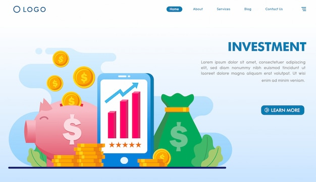 Investment landing page template