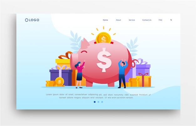 Investment landing page website illustration flat template