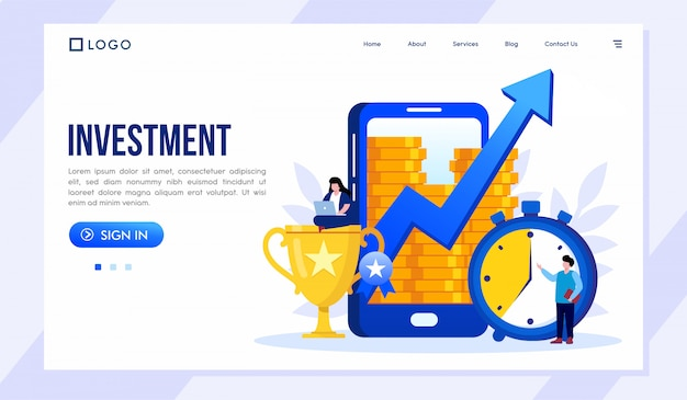 Investment landing page website illustration vector