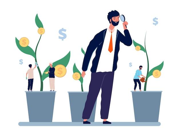 投資管理。ビジネスマンの投資家は収入の成長を探ります。マネージャーと従業員、事業主は利益の概念を観察します。