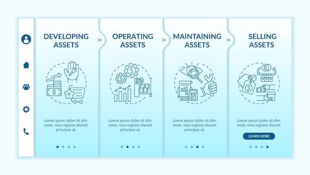 Шаблон адаптации компонентов управления инвестициями. развитие и поддержка активов. адаптивный мобильный сайт с иконками. экраны пошагового просмотра веб-страниц. цветовая концепция rgb