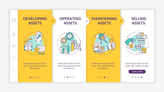 Investment management components onboarding  template. operating stocks and selling assets. responsive mobile website with icons. webpage walkthrough step screens.