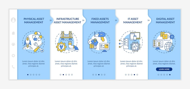 Investment management types onboarding  template. fixed assets and digital asset managing. responsive mobile website with icons. webpage walkthrough step screens.