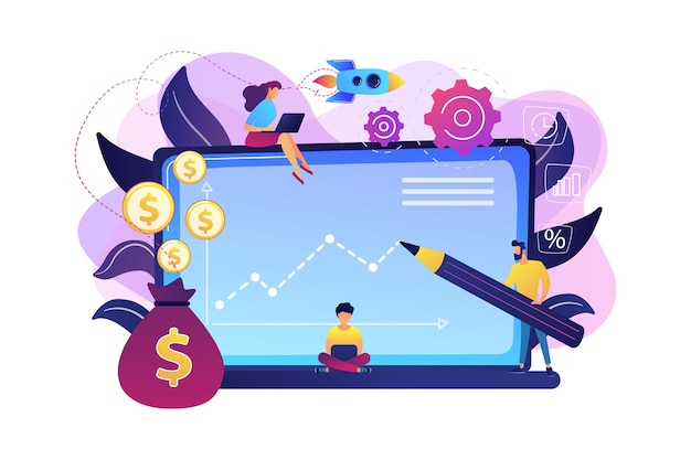Investment managers with laptops offer better returns and risk management. investment fund, investment opportunities, hedge fund leverage concept. bright vibrant violet  isolated illustration