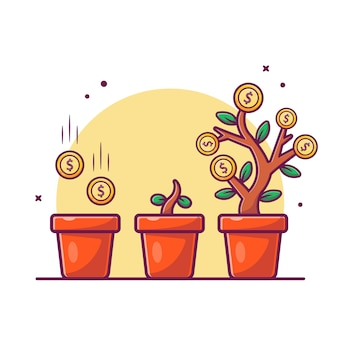 Investment money illustration. investment plant growing, business and finance icon concept white isolated