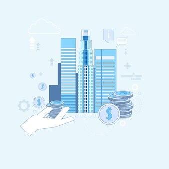 Investment money investor business thin line vector illustration