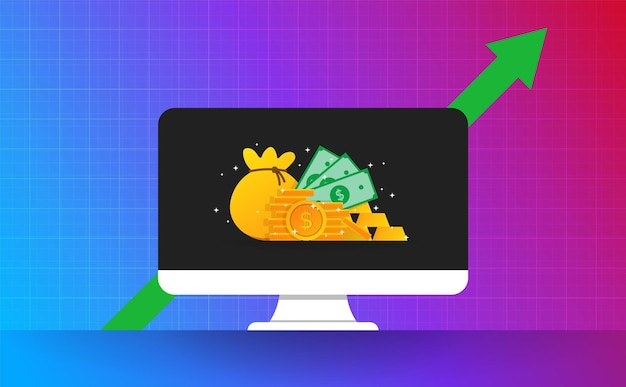 Investment on moniter screen with green arrow. money gold on bakcground vector and illustration