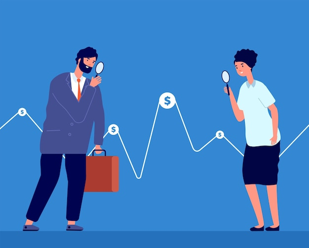 투자 기회. 사람들은 돈을 사고, 비즈니스 투자자는 그래프를 봅니다. 금융 솔루션 비전 또는 증권 거래소 거래자 벡터 개념. 그래프 데이터 그림에 자금을 조달하는 비즈니스 투자자 시계