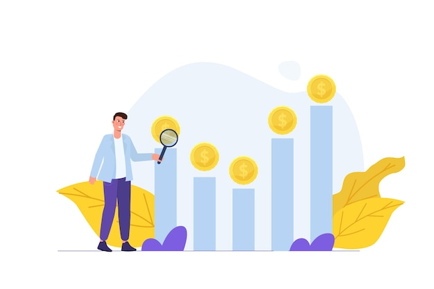 Концепция поиска инвестиционных возможностей. векторная иллюстрация.