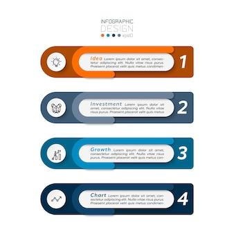 による投資プロセスコンセプトのプレゼンテーションまたは作業レポートの表示。インフォグラフィックデザイン。
