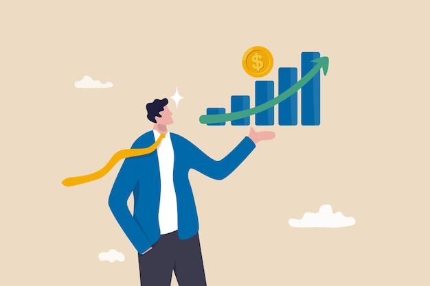 투자 이익 성장, 재정 고문 또는 자산 관리, 부자가 되거나 소득 또는 소득 개념을 늘리기 위해 돈을 벌고, 큰 이익 성장 그래프를 들고 있는 자신감 있는 사업가 투자자.