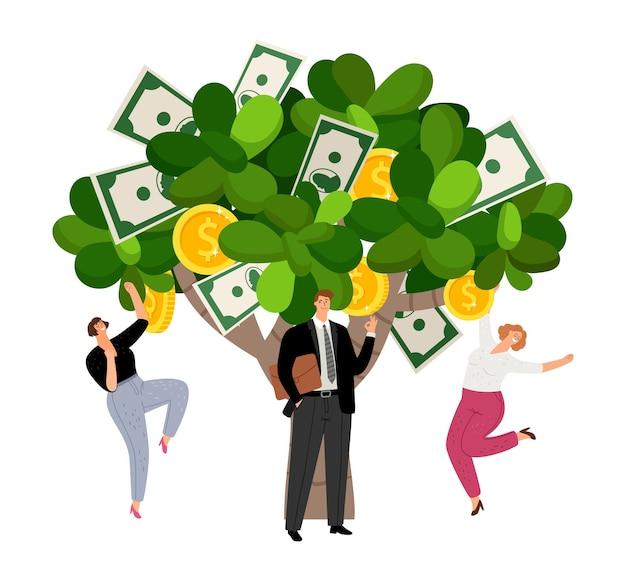 投資利益。幸せなビジネスマンとお金で木。